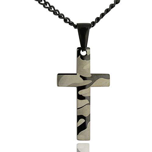 Soul Statement Men's Camo Cross Pendant Necklace Christian Charm Black Chain