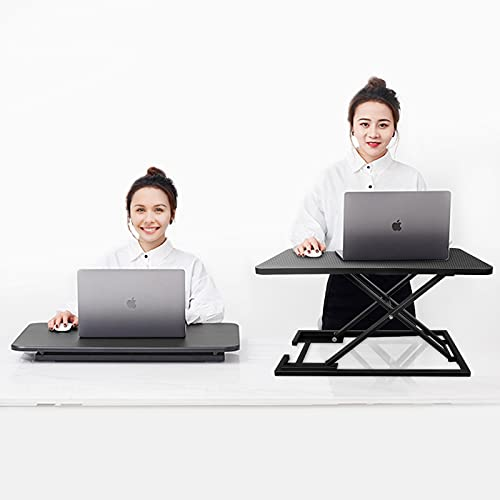 JL Comfurni Workstations Riser Sit Stand Desk Converter Home Office Computer Desk for Monitor Laptop Table Height Adjustable with Gas Spring Riser Suitable for all Workstations