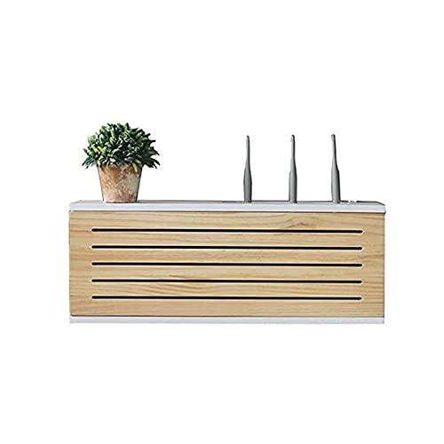 LJXX Router Shelf, Router Caja de Almacenamiento de Madera Sólida, Montado en la Pared Enchufe de la Fila Inferior Caja de Oclusión Estante de Enrutador WiFi Inalámbric