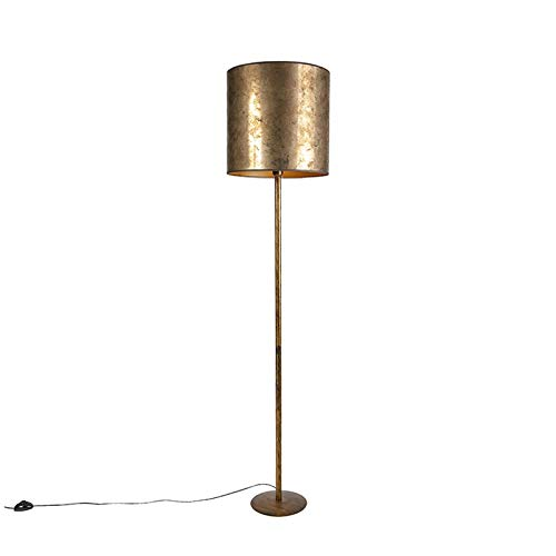 QAZQA Modern Vintage Stehleuchte/Stehlampe/Standleuchte/Lampe/Leuchte Gold/Messing mit alt bronze Schirm 40 cm - Simplo/Innenbeleuchtung/Wohnzimmerlampe/Schlafzimmer Metall/Textil Län