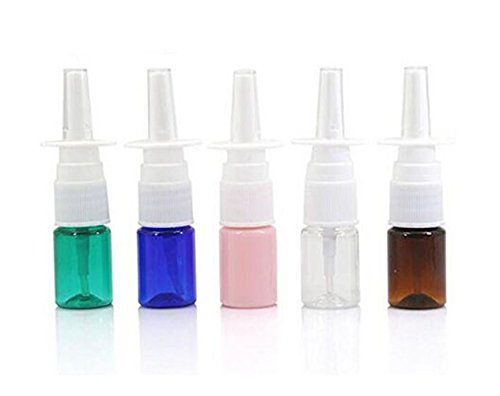 6 x 5 ml leere, nachfüllbare Mini-Nasenspray-Flaschen aus Kunststoff für ätherische Öle, Reiseparfüme & kolloidale Silber- und Kochsalzanwendungen, Farbe zufällig.
