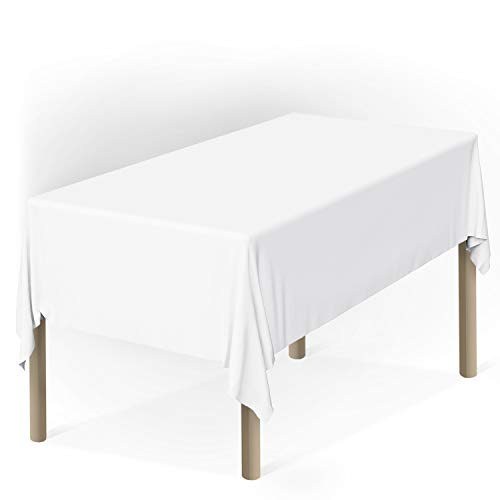 Zoe Deco Plastic Tablecloth, 54' x 108' White Tablecloth - 12 Pack - Rectangle Tablecloth for Parties, Graduations, and Picnics