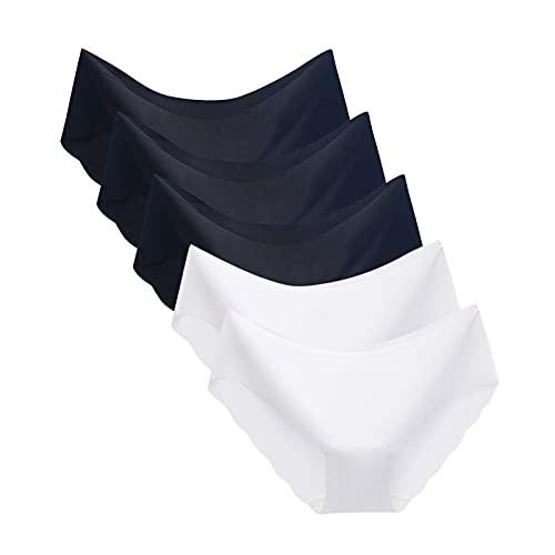 Dasongff Bragas de algodón para mujer, paquete múltiple, ropa interior cómoda, de cintura media, de algodón, sin costuras, bragas para mujer