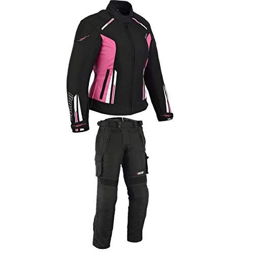 BOSmoto Damen Motorrad Motorradkombi Textil Schwarz Weiß Rose (L)