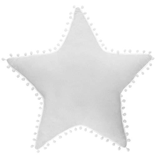 Kissen Stern weiß, weiße Pompons