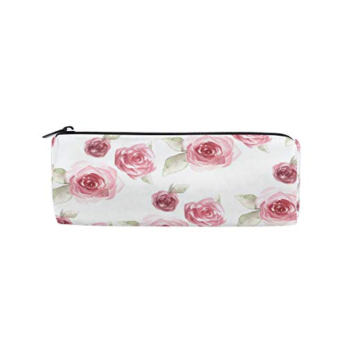 Crayon Sac Stylo Etui Poche Roses Fleur Motif Maquillage Cosmétique Ronde pour Filles Garçons École De Voyage
