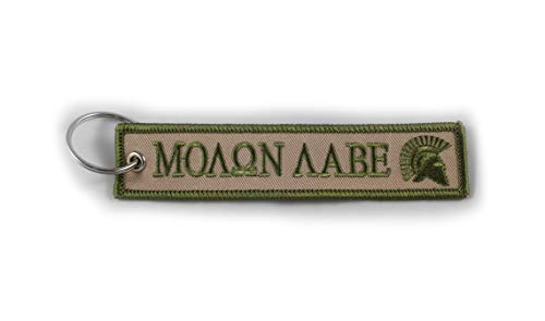 America AF Key Tag - Patriotic, Military Key Chain for Cars and Motorcycles (Molon Labe (Tan))
