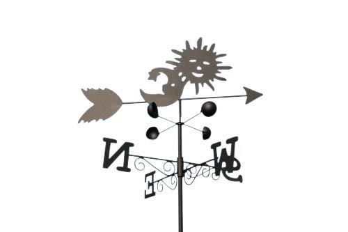 GardenMarketPlace Wetterfahne Sonne und Mond, Stahl, mit Erdspieß und Wandbefestigung