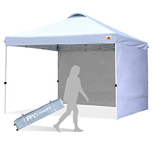 ABCCANOPY Canopy Tent 8x8 Pop Up Canopy Outdoor Canopies with Sun Wall Tent Popup Beach Canopy Shade Canopy Tent with Wheeled Carry Bag, White