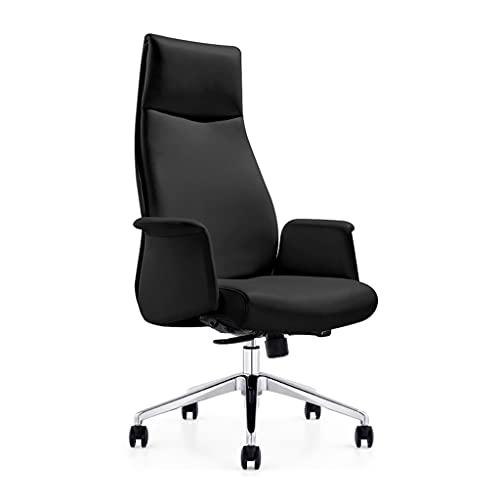 Sillas de Gerente de Jefe de Cuero elevación para el hogar computadora Sencilla y Moda Ejecutiva Supervisor Oficina (Color : Black, Size : 72 * 72 * 122cm)