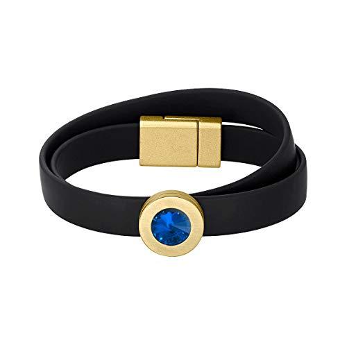 Heideman Armband Damen Colori Band schwarz-Gold 1 Fach aus Edelstahl schwarz und Gold farbend matt Armkette für Frauen mit wechselbaren Swarovski Kristall Saphir blau und Weiss oder bunt