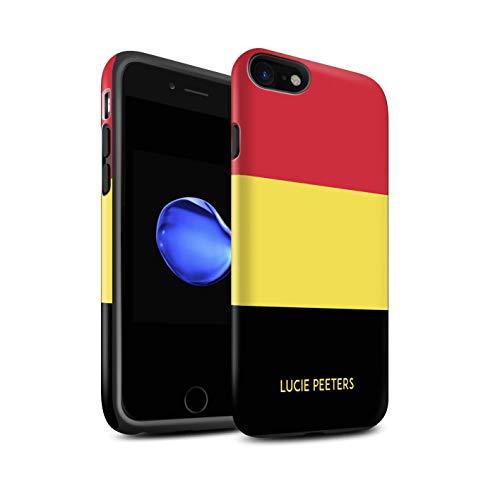 Personnalisé Drapeau National Nation Personnalisé 2 Matte Coque Robuste pour Apple iPhone Se 2020 / Belgique/Belge Design/Initiales/Nom/Texte Antichoc Etui/Housse/Case