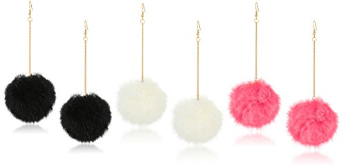 Expression Jewelry 3 Pack Pom Pom Earrings Set with 3 inch Gold Dangle Chain - Black, White and Coral Earrings Set