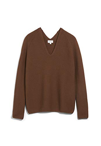 ARMEDANGELS FAARINA - Damen Pullover aus Bio-Baumwolle M Cacao Strick Pullover V-Neck Loose fit
