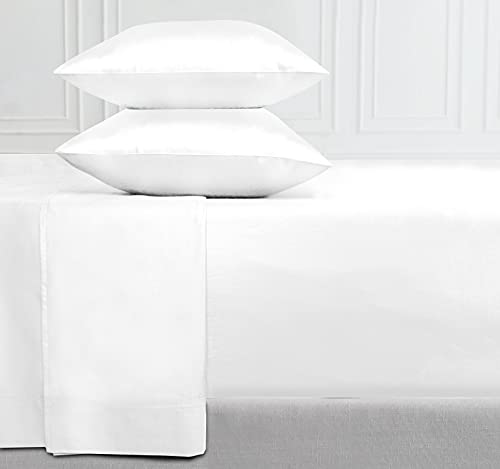 400-Thread-Count 100% Cotton Sheet Pure White Queen-Sheets Set, 4-Piece Long-Staple Combed Cotton Best-Bedding Sheets for Bed, Breathable, Soft & Silky Sateen Weave Fits Mattress 16
