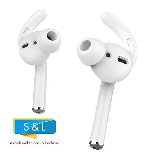 AHASTYLE AirPods Ear Hooks Covers 2 Pairs Silicone Antislip Earbuds Tips [Sound Quality Enhancement] for Apple AirPods 2 & 1 or EarPods (Large & Small, Clear)