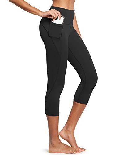 BALEAF Women's High Waisted Yoga Capris Leggings w Side Pockets Workout Cropped Leggings Running Capris Pants Black L