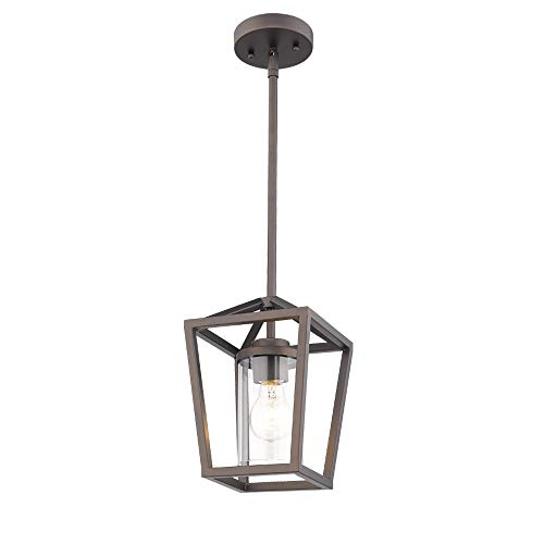 Emliviar Mini Pendant Light, Cage Hanging Light, Oil Rubbed Bronze Pendant Light with Clear Glass Shade, P3033-M1L