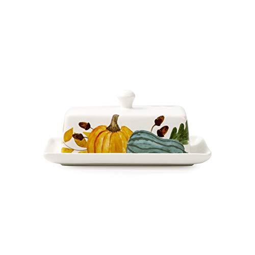 ZHANGJINYISHOP2016 Mantequilla con tapa, plato de cerámica con tapa, adecuado para vajilla de cerámica familiar, hotel y restaurante, se puede utilizar como manteca (color: blanco)