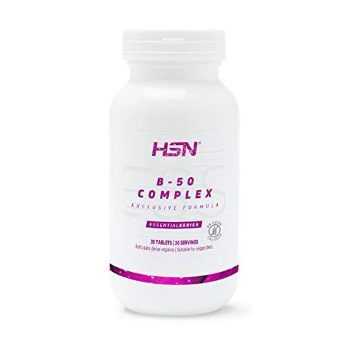 B-50 Complex de HSN | Todas las Vitaminas del Grupo B | Con PABA, Inositol y Colina | Formas de Alta Biodisponibilidad | Vegano, Sin Gluten, Sin Lactosa, 30 tabletas