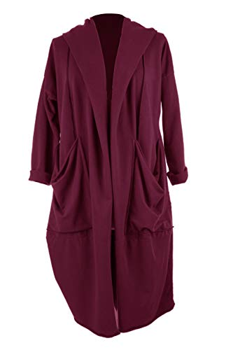 TEXTURE Ladies Womens Italian Lagenlook Long Sleeve 3 Way Twist 2 Pocket Jersey Cotton Cocoon Cardigan Jacket One Size (Burgundy, One Size)