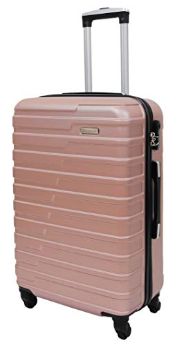 Robust 4 Wheel Luggage Rose Gold ABS Digit Lock Lightweight Suitcase Travel Bag Stargate (Medium | 66x42x27cm/ 3.20KG,66L)