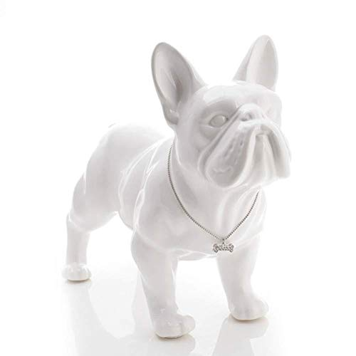 AINIYF Sculpture Statue Ceramic French Bulldog Dog Statue Home Decor Crafts Objects Ornament Porcelain Animal Figurine Garden Decoration (Color : White, Size : 18x8x15 cm)