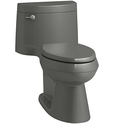 KOHLER K-3619-58 Cimarron Comfort Height One-Piece Elongated 1.28 GPF Toilet with AquaPiston Flush Technology, Concealed Trapway, and Left-Hand Trip Lever, Thunder Grey