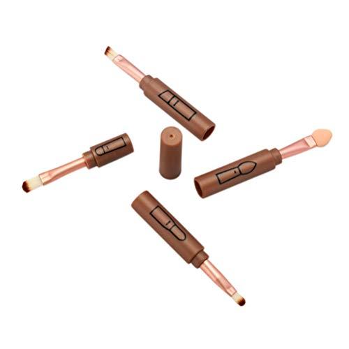 Beaupretty 4 en 1 pinceaux de maquillage avec capuchon pinceau portable durable pour eye-liner - cache-cernes - fard à paupières eye-liner - pinceaux de maquillage de voyage (champagne)
