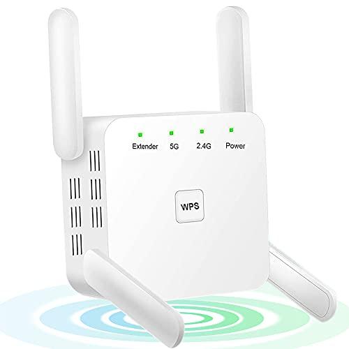 Tanouve Repetidor WiFi, 1200Mbps Amplificador WiFi 2.4G/5G WiFi Extender Amplificador Señal WiFi Extensor de WiFi con 4 Antena WiFi Largo Alcance Modo Repetidor/Ap/Enrutador para Casa Oficina Hotel