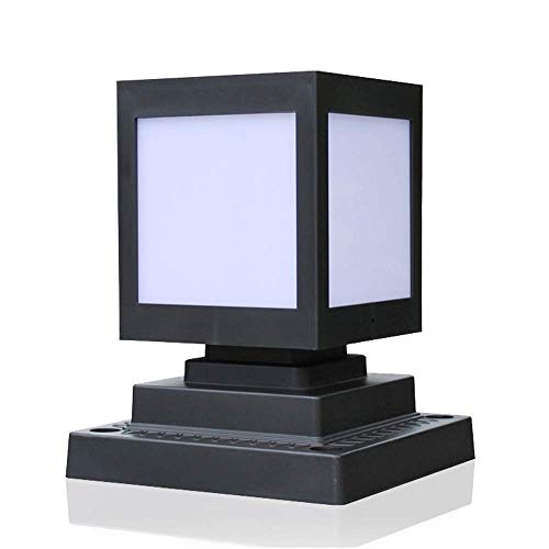 SYyshyin Luces solares para Vallas, luz de Pilar, lámpara de Columna LED Solar Cuadrada, Moderna y Sencilla, iluminación de Patio, iluminación IP55, Impermeable, para Villa, Poste de Pared LED, Farol