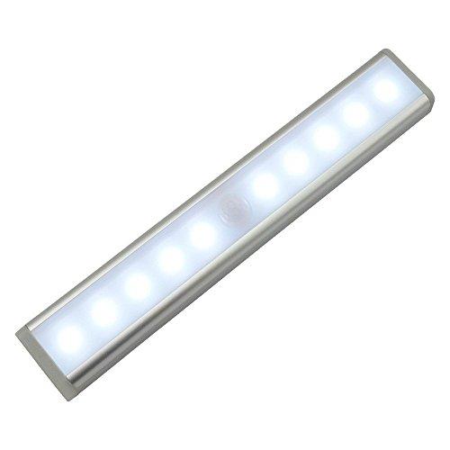 Bewegungs-Sensor-Wandschrank-Licht, Minkoll 10 Batteriebetriebene LED-PIR Bewegungs-Sensor Cabinet Bar-Nachtlicht, mit Stick-on Magnetstreifen Sliver-Cool White