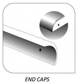 Endkappe, 30 mm, für Küchenarbeitsplatten, Abschlusskappe, Ende, Ecke, gerade, silberfarben