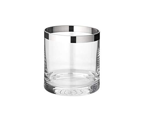 EDZARD Windlicht Molly, mundgeblasenes Kristallglas mit Platinrand, Höhe 8 cm, Durchmesser 7 cm, für Teelicht oder Maxi-Teelicht