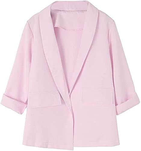 HONGJ Chaqueta informal de manga larga fruncida para mujer con ajuste frontal abierto, rosa, 40