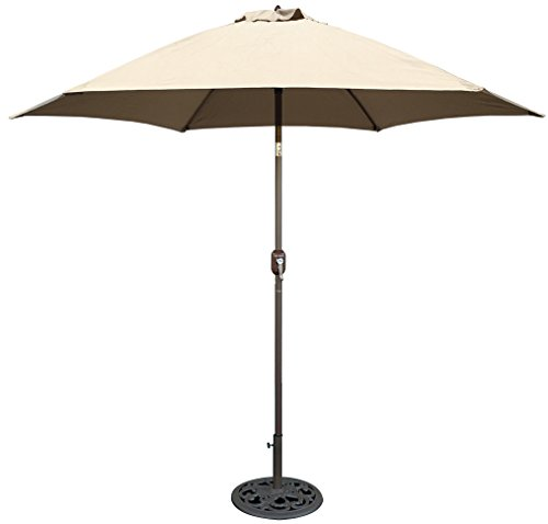 Tropishade 9 ft Bronze Aluminum Patio Umbrella with Beige Polyester Cover