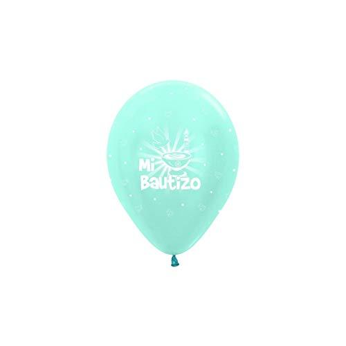 Sempertex - Bolsa de 10 globos sempertex r12 de 30 cm color satin azul mi bautizo