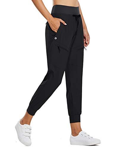 BALEAF Women's Lightweight Jogger Pants with Zipped Pockets Hiking Pants High Waist Quick Dry Black M