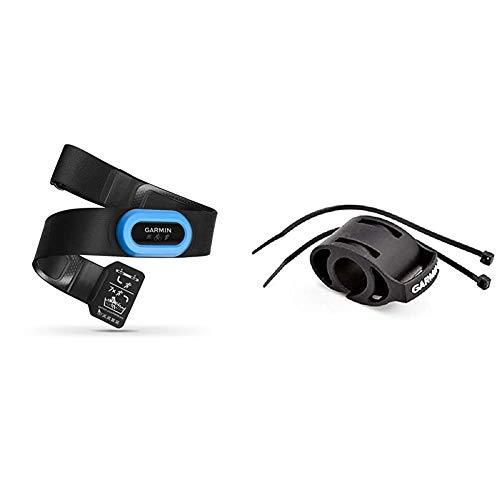 Garmin HRM-Tri Fascia Cardio per Nuoto, Corsa e Ciclismo, Rilevamento Frequenza Cardiaca, Nero/Azzurro Staffa Da Manubrio (Gfe 301-401)
