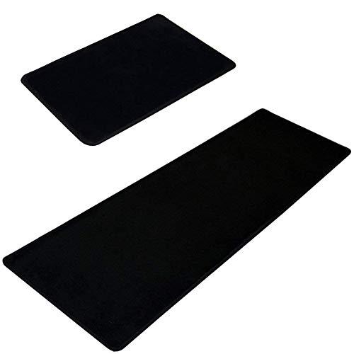Lavabile Kitchen Floor tappeto tappetino antiscivolo Abosrbent zerbini, area Bay finestra Rugs antibatterico tappeti ingresso 2pezzi, Nero , 50x80cm+50x120cm
