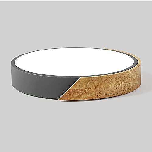 Moderna lámpara de techo LED de metal con borde de madera,lámpara de montaje empotrada redonda,gris creativo,accesorio de iluminación fácil de instalar para sala de estar,cocina,dormitorio,pasillo