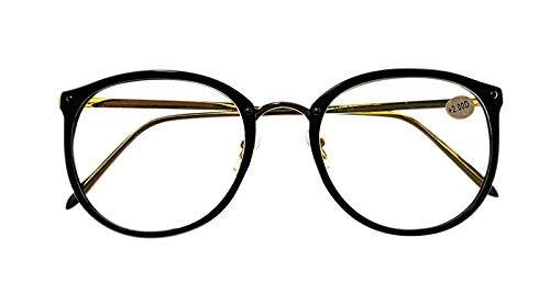 Fads & Fashions Moda Grande Metal Dorado Ovalado Unisex con Estilo Diseñador Gafas de Lectura 3 Colores TN54 - Negro Brillante