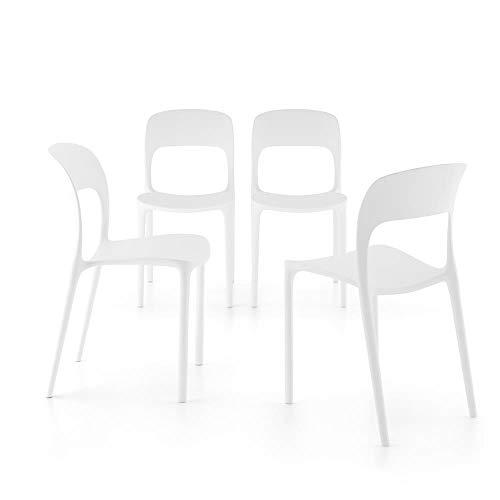 Mobili Fiver, Set 4 Sedie da Pranzo Amanda, Bianco, 42 x 55 x 83,5 cm, Polipropilene, Made in Italy, Disponibile in Vari Colori