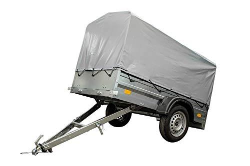 UNITRAILER Pkw Anhänger Garden Trailer 200 mit kippbarer Deichsel Set mit Hochspriegel und Hochplane, Ladefläche 200x106 cm, 750 kg