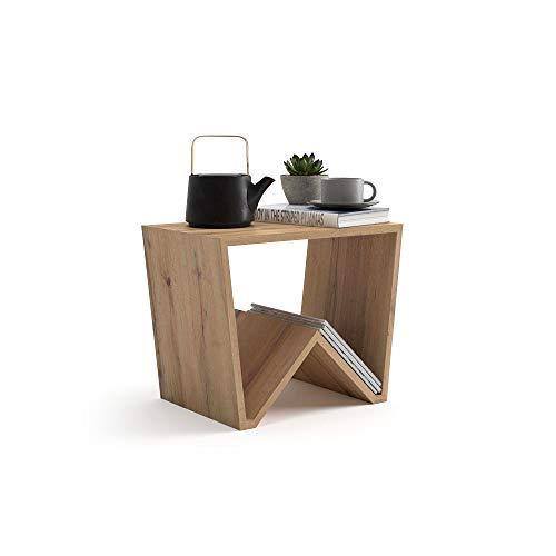 Mobili Fiver, Tavolino da Salotto Emma, Rovere Rustico, 50 x 33 x 40 cm, Nobilitato, Made in Italy