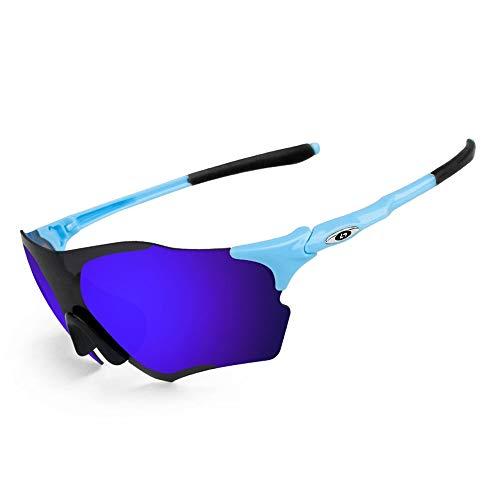 OPEL-R Occhiali da Sole Oakley Man Frameless Polarized, MTB Occhiali da Ciclismo per Bicicletta Antivento TR90 Outdoor Sports,Blueblack