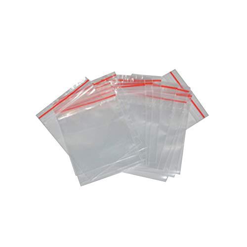 Naisicatar 100 PCS Pequeño Claro cremallera bolsas reajustables Ziplock bolsas de plástico de almacenamiento de tarjetas de regalo de la joyería de caramelo Office Supplies CM 5X7