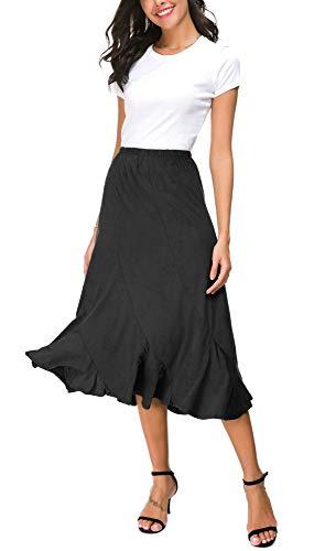 EXCHIC Mujers Elegante De Cintura Elástica Tela de Gamuza Faldas Midi (S, Negro)