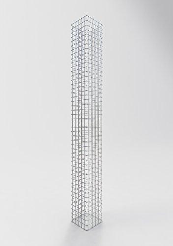 GABIONA Säule Steinkorb-Gabione eckig, Maschenweite 5 x 5 cm, Höhe 230 cm, Spiralverschluss, galvanisch verzinkt (27 x 27 cm)