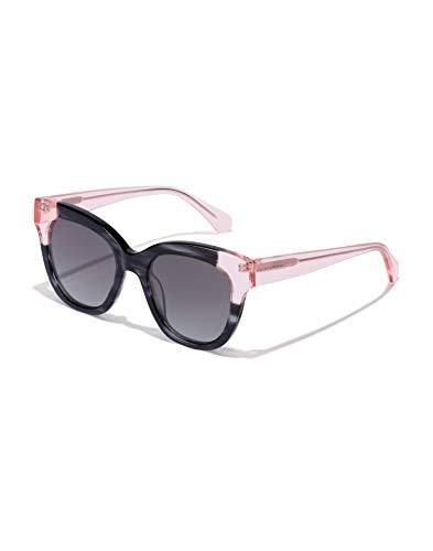 HAWKERS Gafas de Sol Audrey Estilo Butterfly, para Mujer, con Montura Bicolor Rosa Transparente y Havana Print Negra y Lente Oscura, Protección UV400, Black · Pink, One Size Unisex Adulto